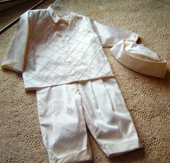 Dupioni Silk Christening suit by Cora
