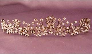 Large Butterfly Tiara by Thomas Knoell in antique Silver & Clear Crystal