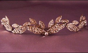 Large Fall Tiara by Thomas Knoell in antique Sterling Silver with Clear Crystals