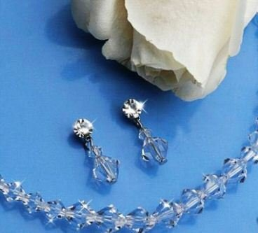Simply Sparling Swarovski Crystal Bicone Necklace with Matching Drop Earring