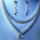 Cara's Treasure  Double Strand Swarovski Crystal Necklace & Earring Set