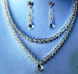 Cara's Treasure  Double Strand Swarovski Crystal Necklace & Earring Set
