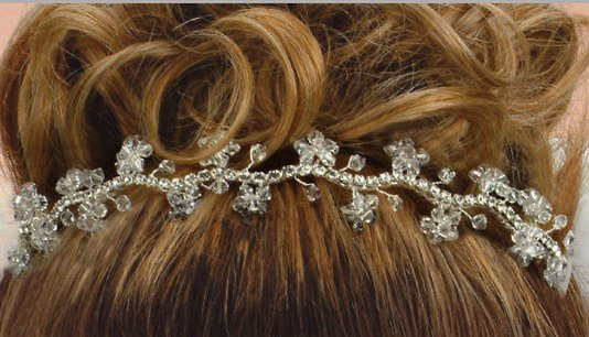 Farah's Flower flexible Hair Jewelry in Clear Swarovski Crystal