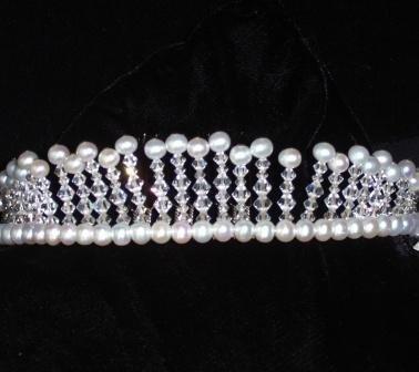 Gleam - Freshwater Pearl & Swarovski Crystal Tiara by Winters &Rain
