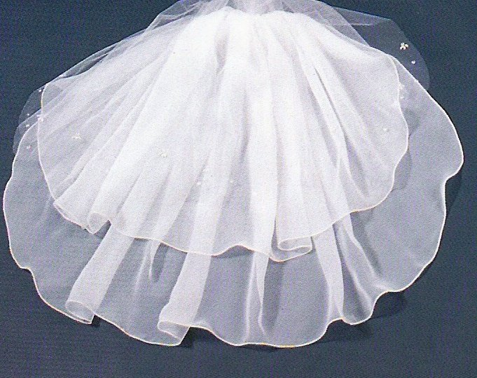 Sheer Glamour Beaded Tulle & Chiffon Elbow length Veil in White
