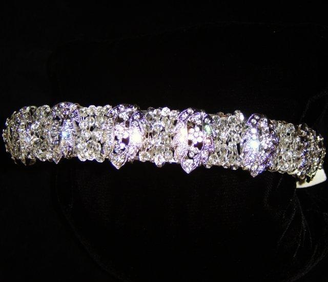 Laurel Wreath of Clear Swarovski Crystal & crystal studded Rhodium leaves