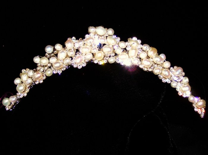 Precious Pearls freshwater pearl set in Crystal flowers Comb by Kristina Eaton