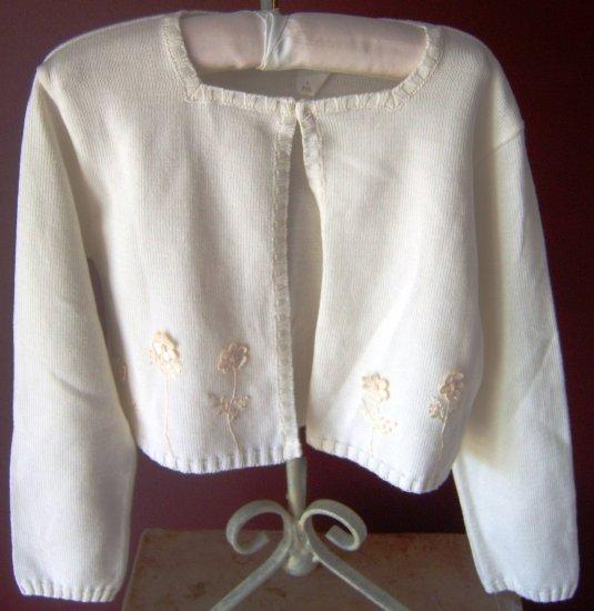 Sarah Louise Ivory Appliqued Knit Cardigan
