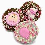 1 Dozen Baby  Girl Theme Chocolate Dipped Oreos, Individually wrapped.