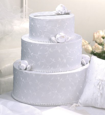 Wedding Cake Card Box in White  or Ivory with Satin Roses & Pearls