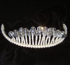 Crystal Lights Freshwater Pearl & Swarovski Crystal Tiara by Winters and Rain