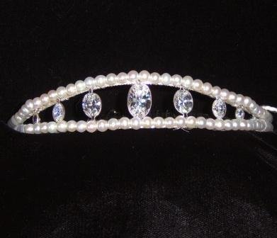 Elmcourt Tiara  by Winters and Rain of Freshwater Pearl & Swarovski Crystal