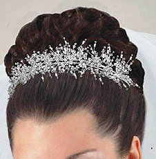 Floating Flowers Free Form  Swarovski Crystal Tiara, Custom Colors available.