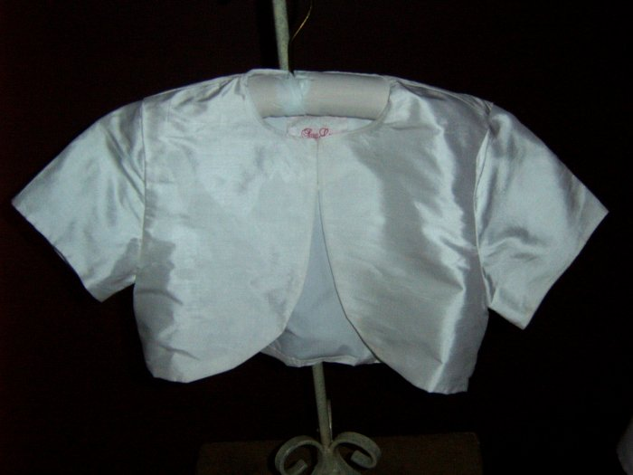 Toddler Custom  Dupiioni Silk  Short Sleeve Bolero Jacket in your choice of color.