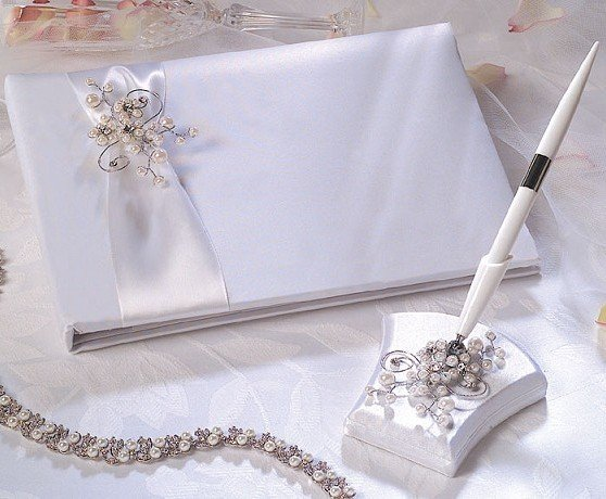 Pearl Garden Guest Book & Pen in White  with Silver & Pearl Accents