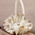 Champagne Bow Flower Girl Basket with Free Silk Rose Petals