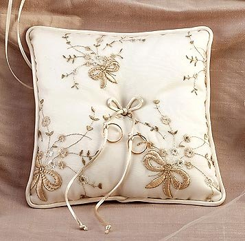 Champagne Bow Ring Bearer Pillow