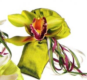 Set of 6 Silk Dupioni Sachets with silk Orchids an Satin Ribbons