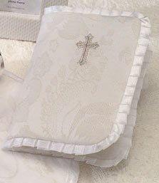 Babies Christening Keepsake Bible with Embroidered Cross