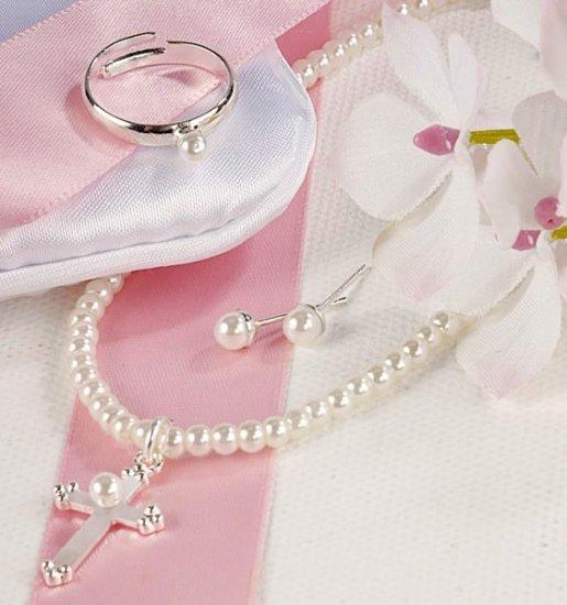 Cross Flower Girl/Communion 3 Piece Jewelry Set in personalized bag.