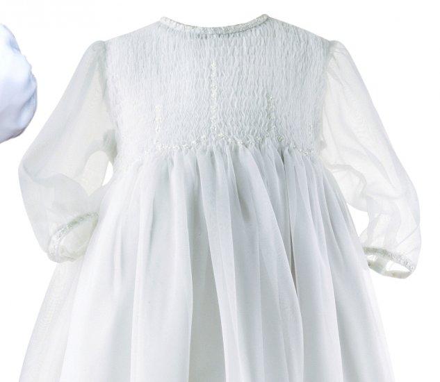 Sarah Louise Smocked Organza Christening Gown & Bonnet #121