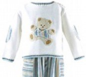 Sarah Louise Sweater and Pant Set in Ivory , Blues & Tan with Bear Applique