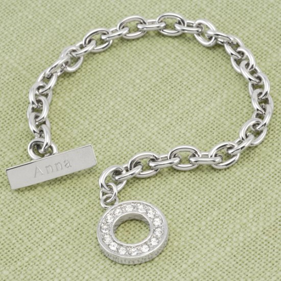Personalized Rhinestone Toggle Bracelet in Rhodium