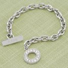 Personalized Rhinestone Toggle Bracelet in Rhodium
