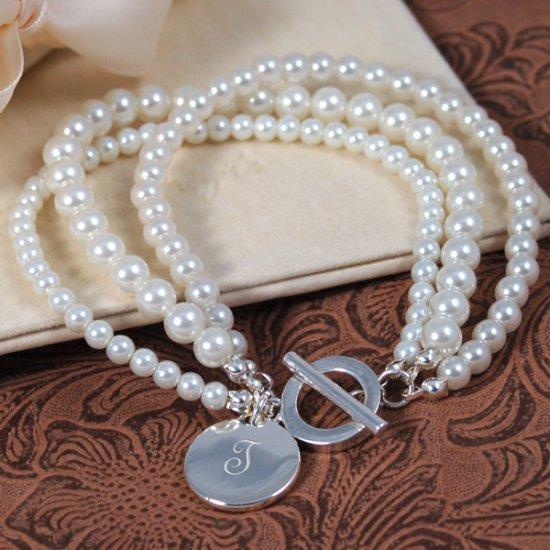 Elegant Moments White Multi-strand Pearl & Silver Personalized Bracelet
