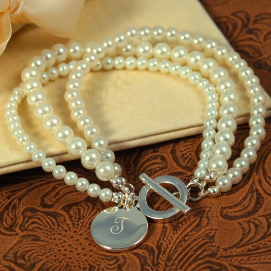 Elegant Moments Ivory Multi-strand Pearl & Silver Personalized Bracelet