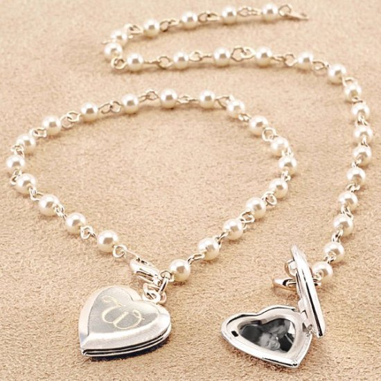 Personalized Pearl Bracelet with Sterling Silver Plate Heart Locket Charm