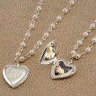 Personalized Glass Pearl Necklace with Silver  Locket Charm