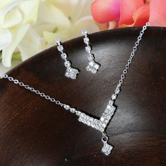 Sparkling rhinestone Chevron Necklace & Earring Set