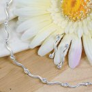 Contemporary Silver & Crystal Necklace & Earring Set