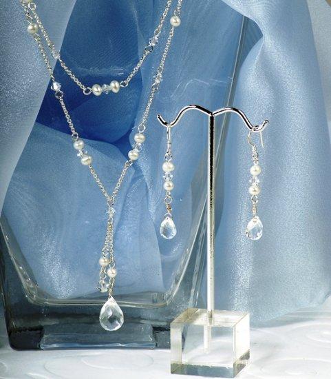 Swarovski Crystal & Freshwater Pearl Double Drop Jewelry Set