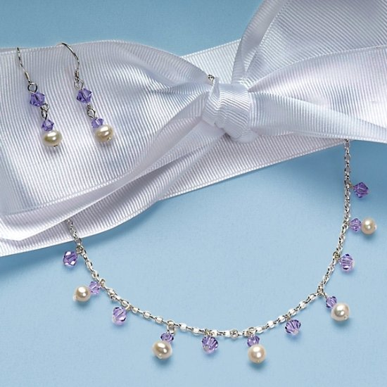 Freshwater Pearl & Crystal Earring & Necklace Set