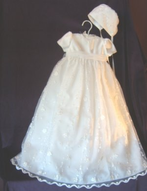 Sarah Louise White Embroidered Organza & Satin Christening Gown & Bonnet #127