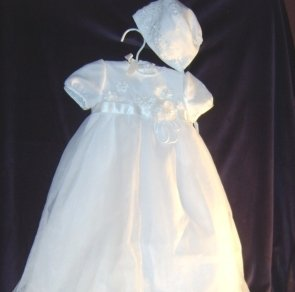 Organza and Italian Satin Beaded Christening Gown by Designer Sarah Louise Style 125Z