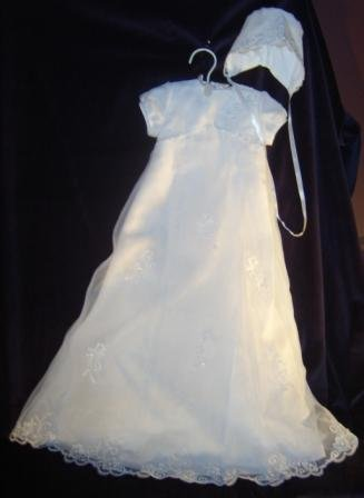 Sarah Louise White Organza Aline Christening Gown & Bonnet #136 with lace &  beading