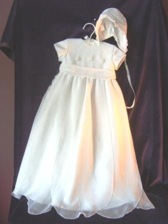 Sarah Louise White Rose Bodice w/Petal Hem Christening Gown & Bonnet #137