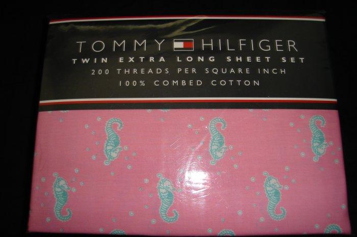 Tommy Hilfiger Santa Rosa Twin XL Extra Long Sheet Set Pink Dorm Bedding