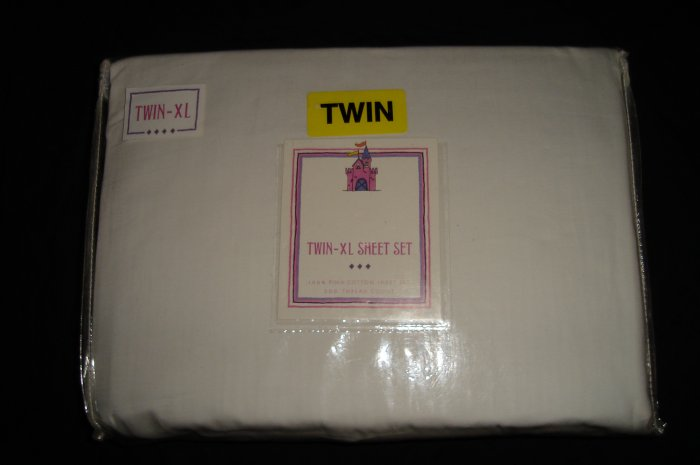 Solid WHITE Twin XL Extra Long Sheet Set 300TC Dorm Bedding