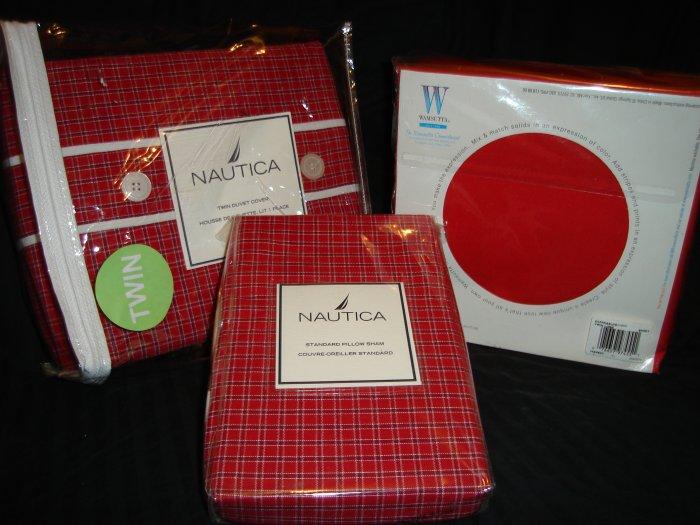 Nautica Tattersall Red Twin Duvet Cover Sham Twin XL Sheet Set Dorm Bedding