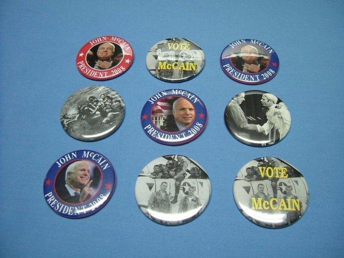 7 PACK of Pins or Buttons for PRESIDENTIAL HOPEFUL JOHN McCAIN for PRESIDENT 2008 Buttons Pinbacks