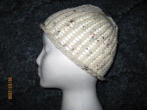Cream Fleck skully knit hat