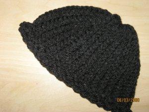 Child's dark gray rollup knit hat