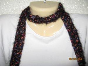 Black Fantasy crocheted skinny scarf