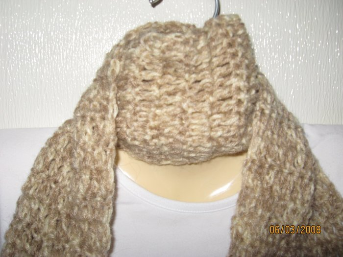 Tan It crocheted scarf with fringe