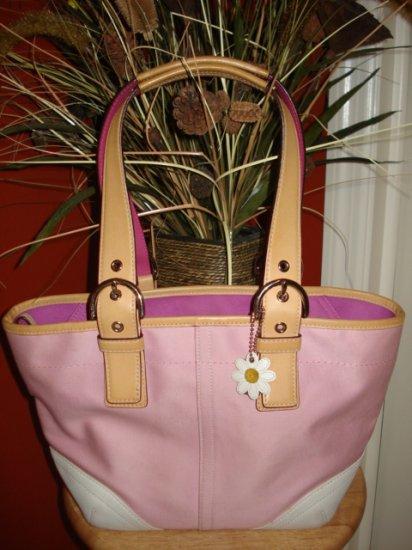 Authentic Coach Pink White Hampton Tote Handbag