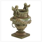Antique Green Finish Urn with Cherubs
